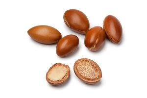 Argan seeds on white surface
